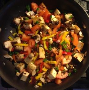 springtime stir fry veggies in pan