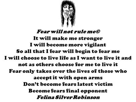 Fear will not rule me