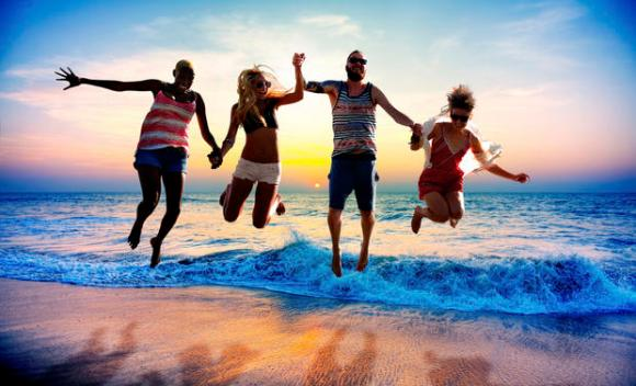 Diverse Beach Summer Friends Fun Jump Shot Concept